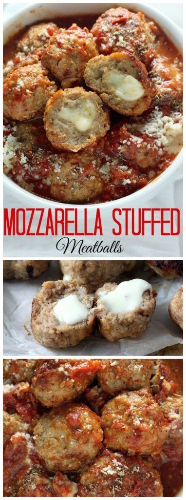 30-Minute Mozzarella Stuffed Turkey Meatballs with Homemade Marinara Sauce - quick, healthy, and SO delicious!