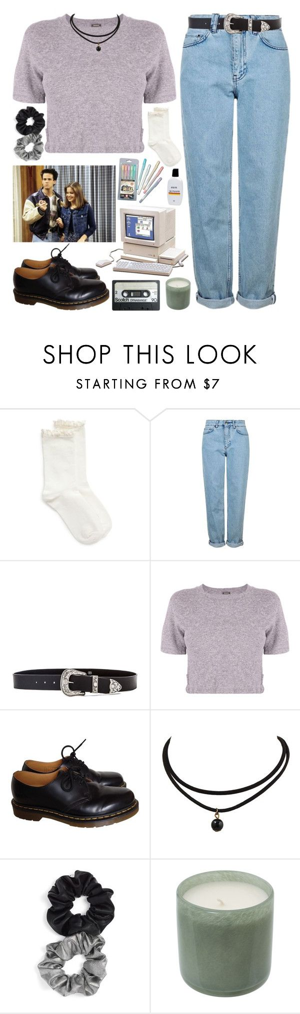 """FULL HOUSE ~ dj tanner"" by gemmonkey ❤ liked on Polyvore featuring Hue, Topshop, New House Textiles, B-Low the Belt, Monrow, Dr. Martens, Berry and LAFCO"