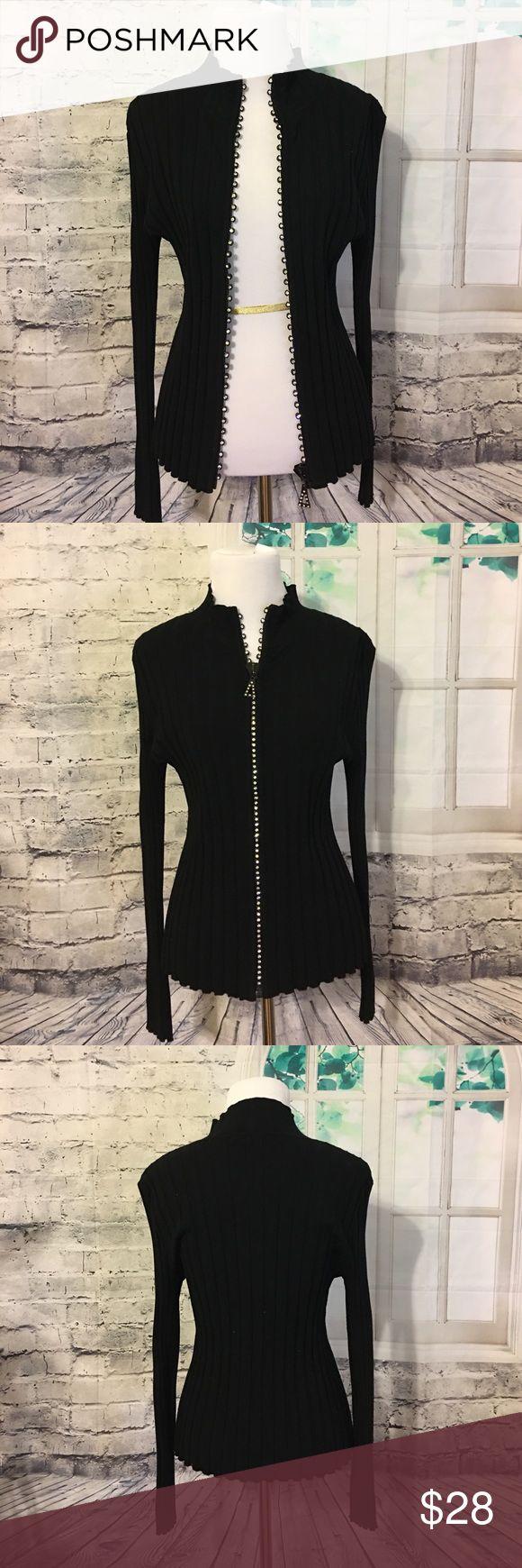 Beautiful black zip up sweater with crystals Beautiful black zip up sweater with crystals. New, never worn. Size: medium. Brand: Belldini Belldini Sweaters