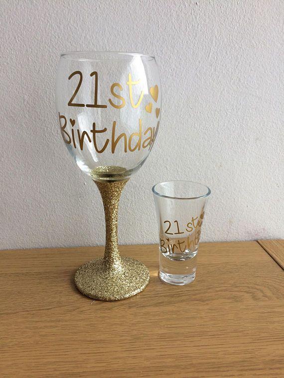 21st Birthday Gift Shot Glass Gift Turning 21 Custom Wine