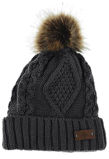 ANGELA & WILLIAM Women's Faux Fur Pom Pom Fleece Lined Knitted Slouchy Beanie  Hat