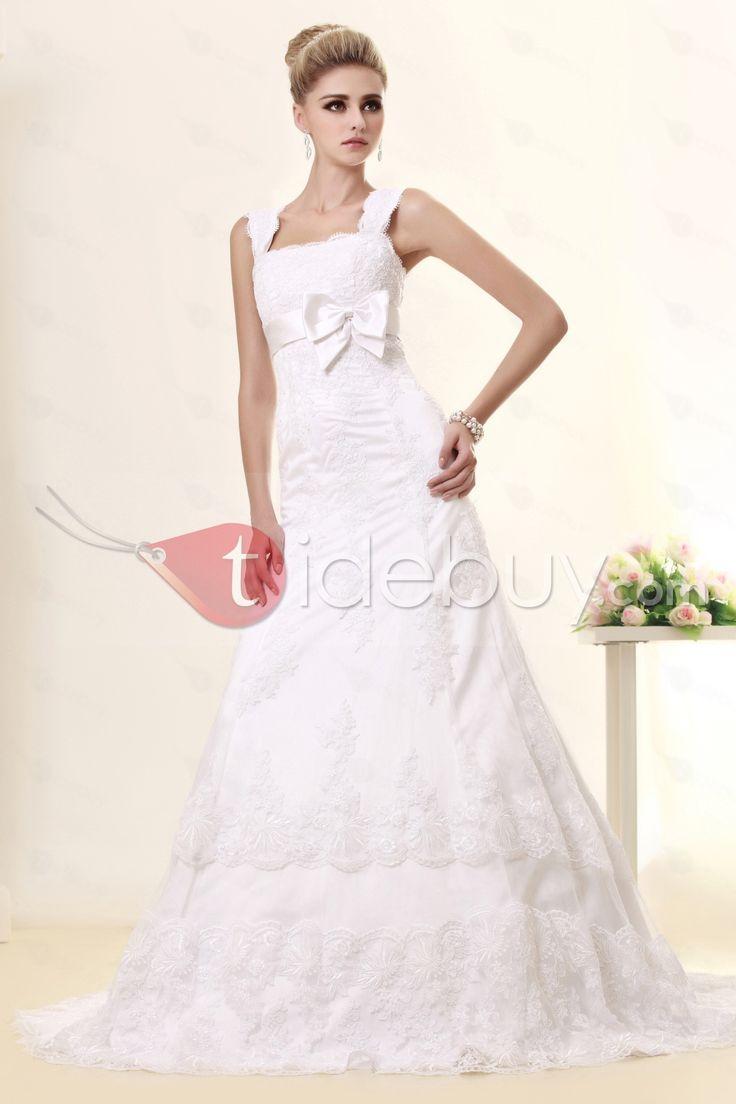 ファンシーAラインスクエアネックライン床までの長さ蝶結び飾りウェディングドレス