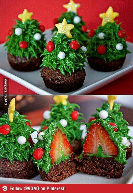 Christmas Tree Brownies.....just look pretty and with a strawberry in each one, that's surely all of your 5-a-day if you eat 5...?!