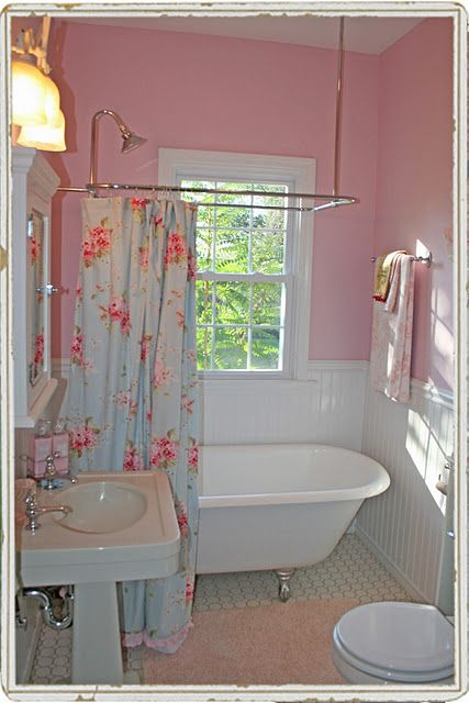 Hmmmm. . .  I have the shower curtain and the pink walls ... Now I need the wainscoting, tub, and sink!