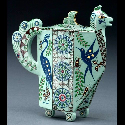 """Birds and Bees"", Medium: White earth Turquoise bird teapot by Mariko Swisher"