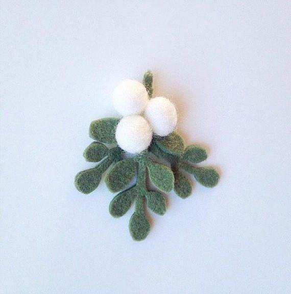Mistletoe Hair Clip or Headband  Felt Mistletoe  Felt Flower