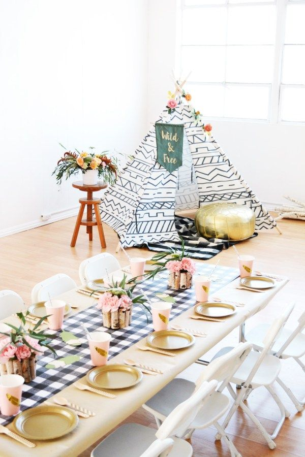 Wild and Free Boho Camping Themed Birthday Party.