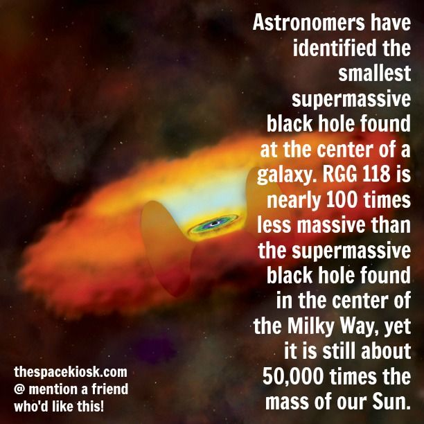 The smallest supermassive blackhole ever found!  Bite-sized, mind blowing space facts about the Universe and the cosmos. Whether you're new to astronomy / astrophysics or not, check us out @ https://www.instagram.com/thespacekiosk/    Image: NASA  CXC Univ of Michigan V.F.Baldassare et al Optical SDSS