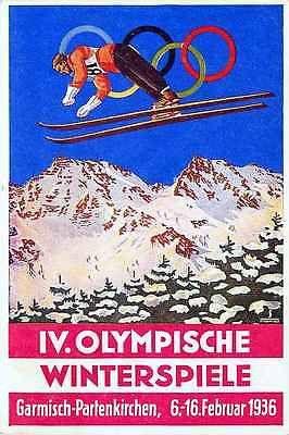 Garmisch Partenkirchen Germany 1936 IV Winter Olympics Antique Vintage Postcard