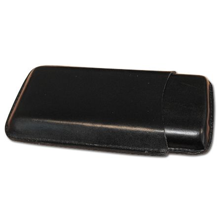 Plain Black Leather Cigar Case – Three Corona Simply Cigars UK, specialists in Cuban Havana cigars, humidors & accessories