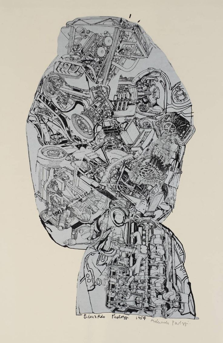 Sir Eduardo Paolozzi, 'Automobile Head' 1954-62. Try out some drawings in which you fill the silhouette completely with a range of machine parts like this one