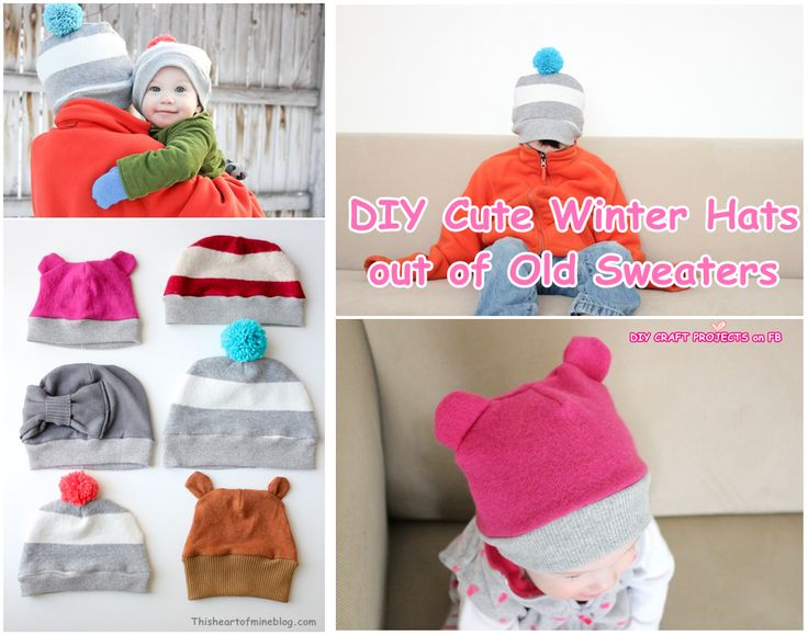 DIY Cute Winter Hats out of Old Sweaters