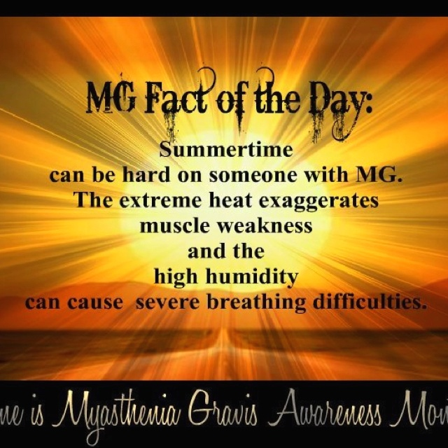 June is Myasthenia Gravis Awarness month . Spreading the word of the rare Disease I have