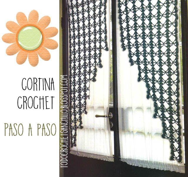 Patrones moldes y explicación de cortina a ganchillo