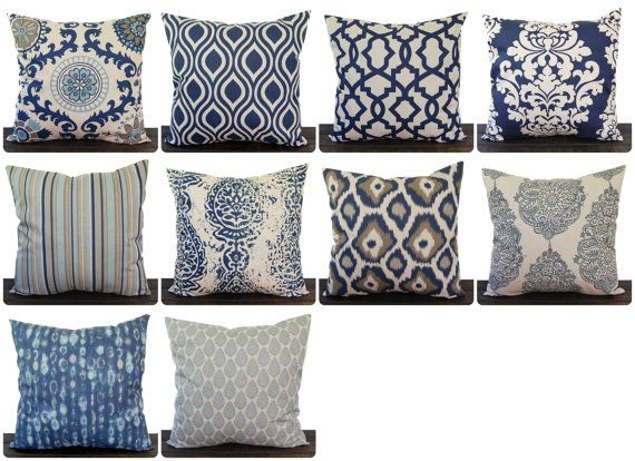 This listing is for One throw pillow cover in deep blue and oatmeal (tan/beige) on laken. This is very nice, high-quality decorator fabric and so