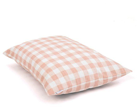 Blush Pink Gingham Check Dog Bed Cover Plaid Girl Pet Bed Etsy Covered Dog Bed Dog Bed Duvet Dog Bed