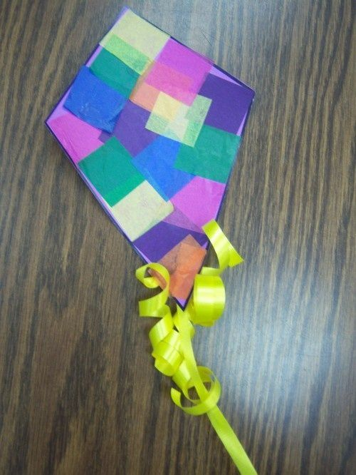 Preschool spring kite craft using ribbon and tissue paper, super cute!