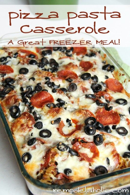 Pizza Pasta Casserole- (Tried it with potatoes instead of pasta. Was good, but potatoes were a little mushy.) Let this defrost fully before cooking. Go off the directions, and use your favorite toppings!