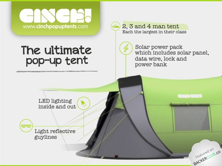 Meet Cinch!– The ultimate pop-up tent with solar power & LED's video poster