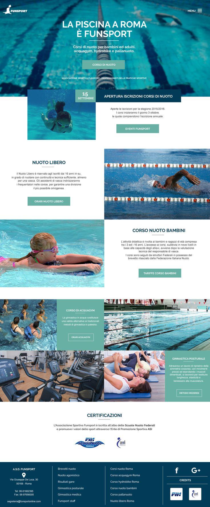 Restyling grafico per il sito web dell'Associazione Sportiva Funsport di Roma. Le attività principali del centro sportivo sono i corsi di nuoto, acquagym, pallanuoto e hydrobike