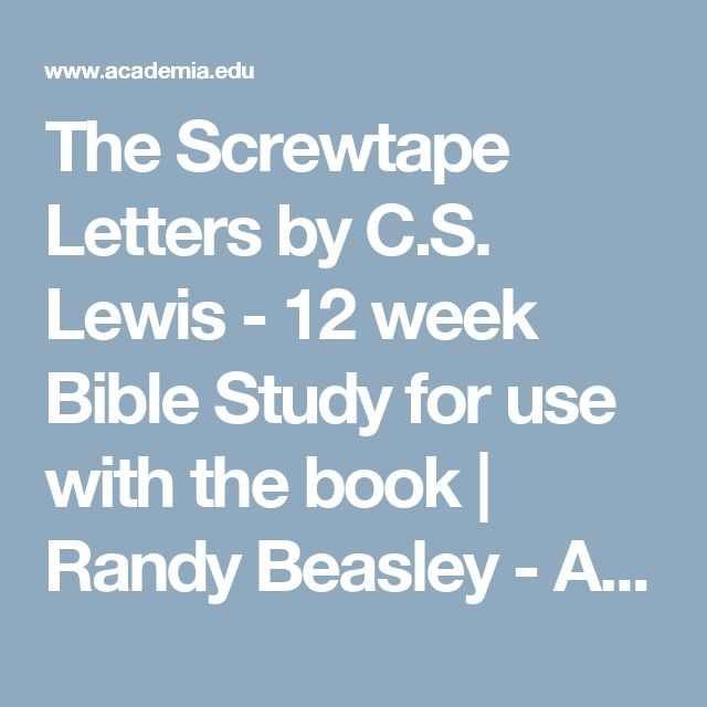 an examination of the screwtape letters by cs lewis Letters from a senior to a junior devil  t he screwtape letterswas initially  published, chapter/letter, by chapter, in t  c s lewis, magdalen college  can  practise self-examination for an hour without discovering any of those facts about.