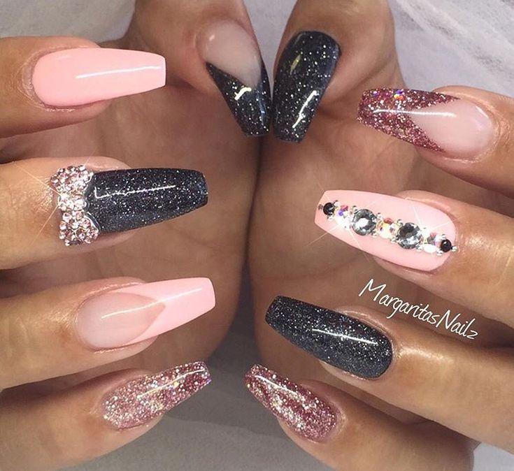 Pink & black rhinestones