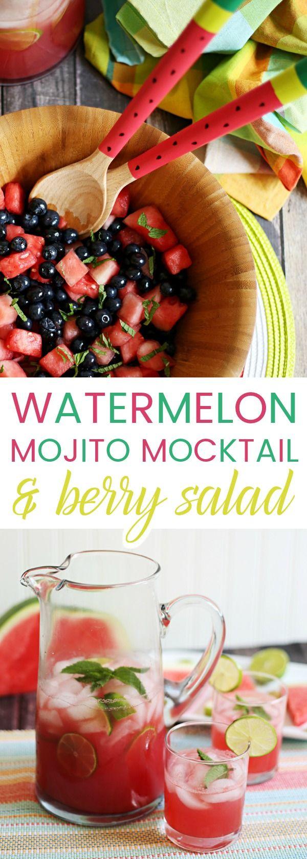 Share a Slice of Summer: Watermelon Mojito Mocktail & Watermelon Berry Mojito Salad via @fieryone