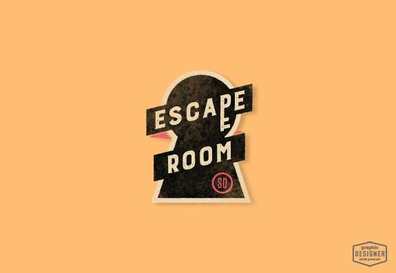 Logo / branding design for Escape Room, San Diego, California. Logo includes a key and keyhole with a retro / vintage design feel. Graphic Designer Chris Prescott | cprescott.com