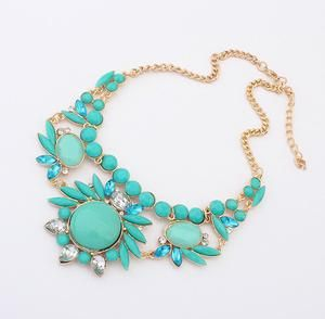 Teal Jeweled Necklace                      – Lavenderella
