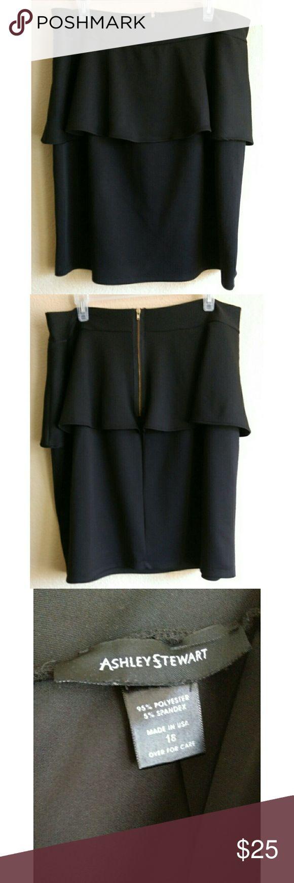 Ashley Stewart Peplum Skirt Size 18 Black stretch peplum pencil skirt in excellent pre loved condition Ashley Stewart Skirts Pencil