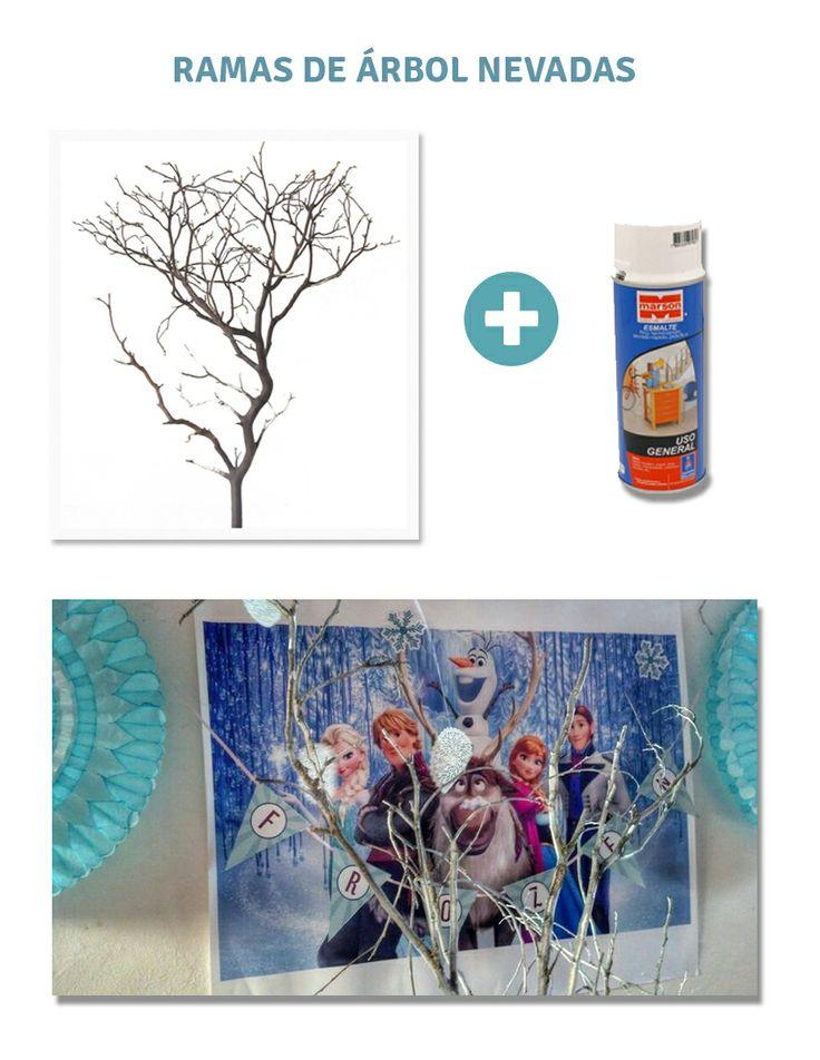Branch + spray = frozen Rama de árbol + spray/esmalte blanco = nieve congelada #frozen #partyfrozen