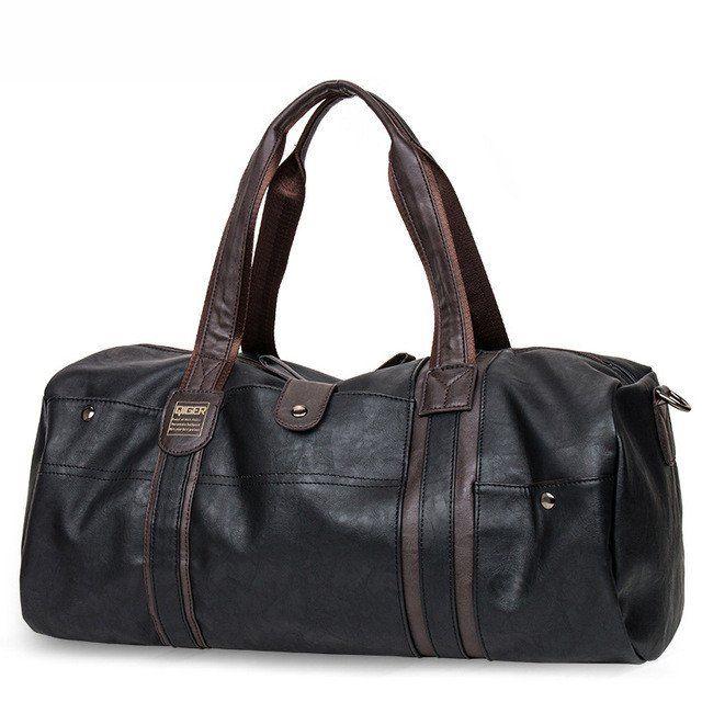 Vintage Oil Wax Leather Handbag Men Large-Capacity Portable Shoulder Bag Fashion Travel Bag