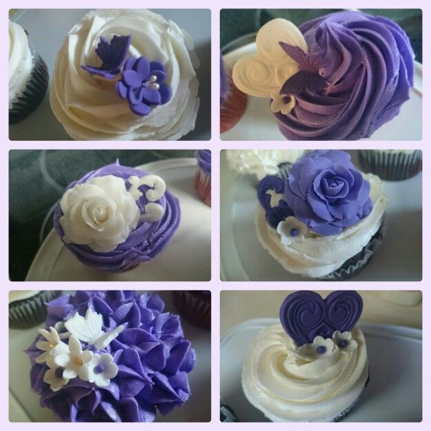 Purple and white cupcakes flowers