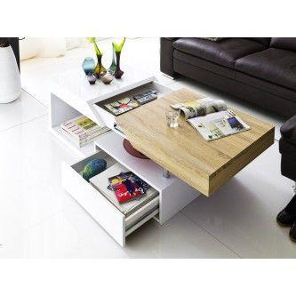 Table basse design blanc laqué et bois Spring 120 cm royal découvrir 469€