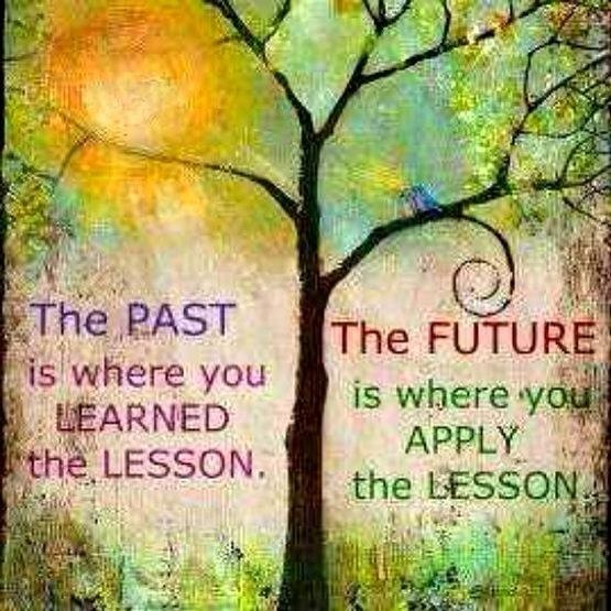 The PAST is where u learned the lesson. The Future where you apply it. http://www.facebook.com/pages/Anonymous-ART-of-Revolution/362231420471759