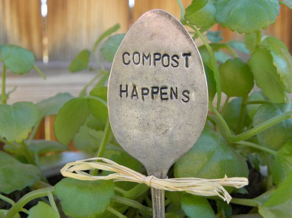 COMPOST HAPPENS spoon - garden marker - silver plated - hand stamped