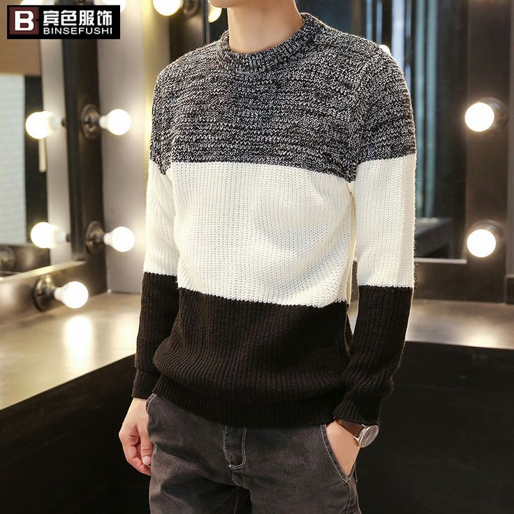 2017 autumn and winter new striped sweater men casual round neck black and white sweater #Affiliate