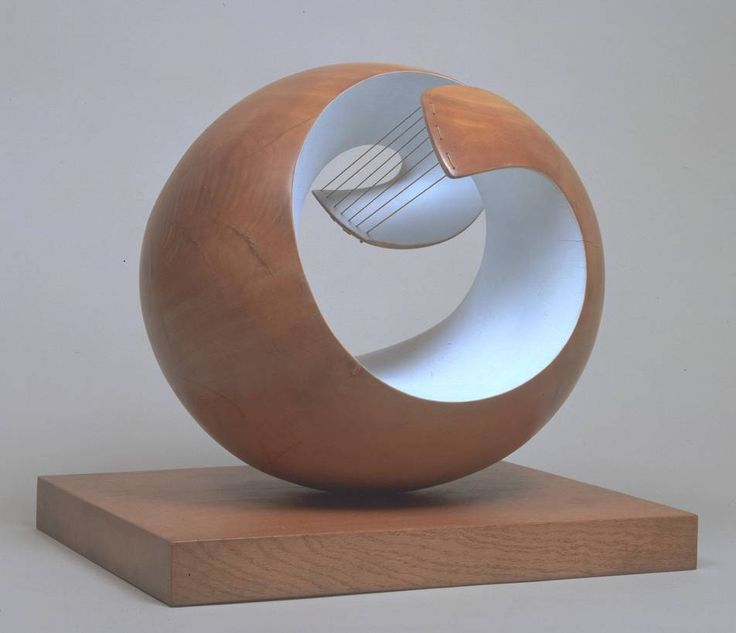 """Pelagos"" in 1946. Sculpture by Dame Barbara Hepworth. Medium:  Part painted wood and strings"