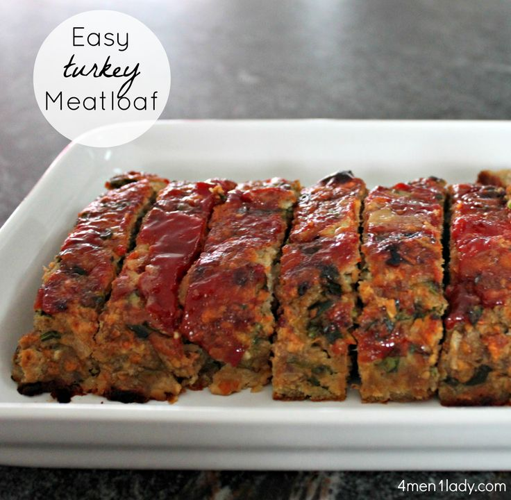 Foodie Friday – Easy turkey meatloaf.  Seriously the best meatloaf recipe ever! Plus it's a perfect dish if you are trying to stick to a healthy, lean meal.  www.4men1lady.com