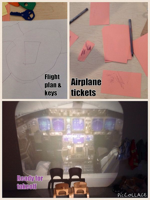 Airplane in dramatic play using overhead projector