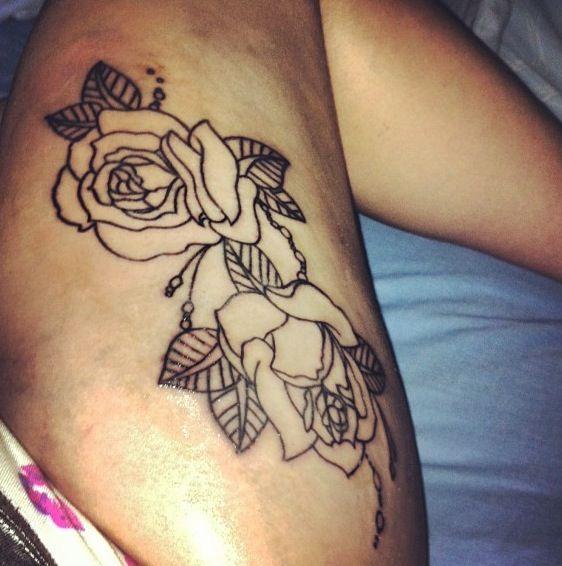 love! #love #tattoo #rose #floral #thightattoo
