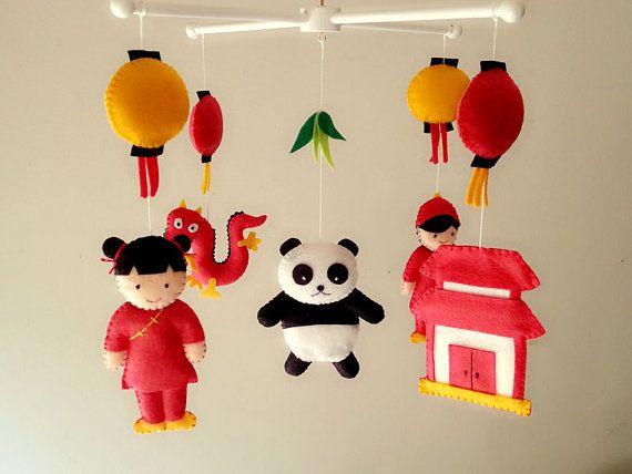 """Felt mobiles, baby mobile, Asian mobile,"""" China Town"""" Chinese Boy and Girl, Panda, Dragon, Palace"""