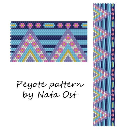 """Instant Download Beading Pattern Peyote Stitch Bracelet """"Lilac"""" Seed Bead Cuff"""