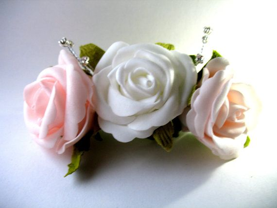 Stunning Rose Hair Piece For Performance Dance Wear Or Wedding Accessories Brides Bridesmaids Flower S Silver Barrette With