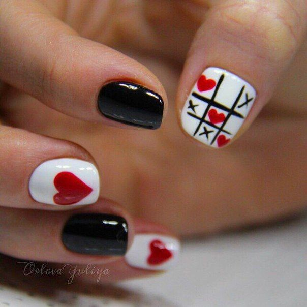 Black red white nails, Celebratory nails, Cheerful nails, Dating nails, Festive nails, Heart nail designs, Love nails, Nails for date
