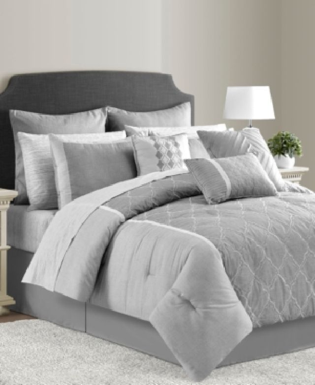 The Gilmour Comforter Set Features A Stylish Geometric Pattern Atop Gray Ground Making This Perfect Ensemble For Breathing New Life Into Look Of