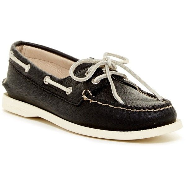 Sperry A/O 2-Eye Boat Shoe ($60) ❤ liked on Polyvore featuring shoes, black, leather deck shoes, leather slip-on shoes, sperry topsiders, slip on boat shoes and boat shoes