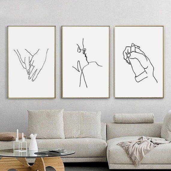 Holding Hands Art 3 Set Print Kissing Art Digital Download Love Print Line Drawi Art Ideas