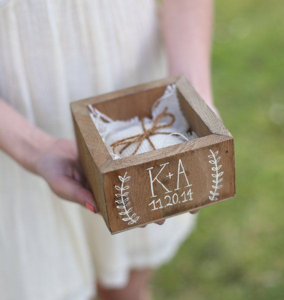 Personalized Ring Bearer Pillow Box Country Barn door braggingbags