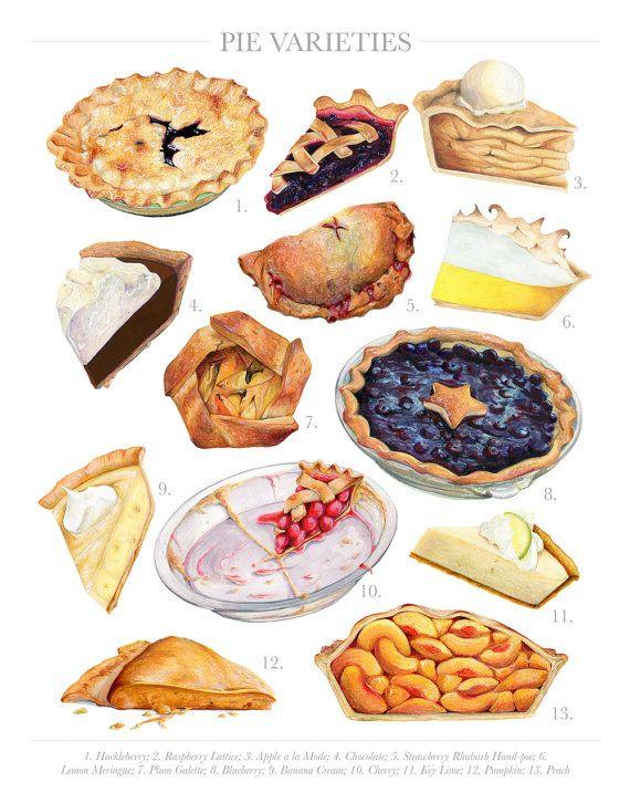 Pie Varieties // Limited Edition Food Illustration // Art Print, Colorful, Vintage, Kitchen